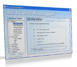 Keylogger main screen